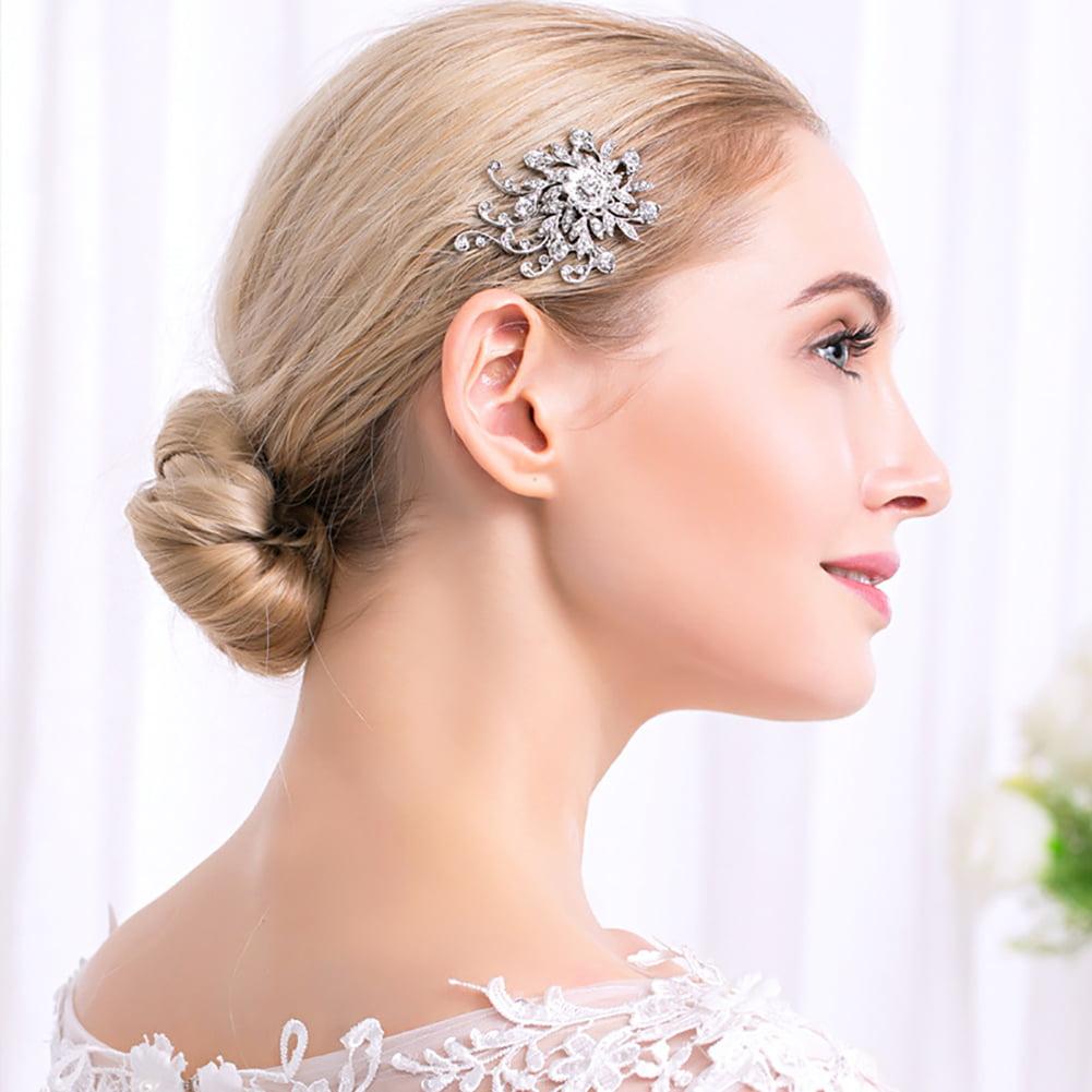 HiCoup Shiny Rhinestone Leaf Tuck Comb Women Hairpin Hair Clip Bridal Wedding Gift