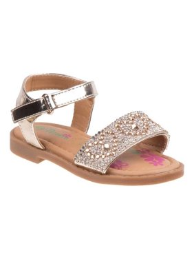 Petalia Little Girls Silver Glitter Rhinestone Heart Sandals