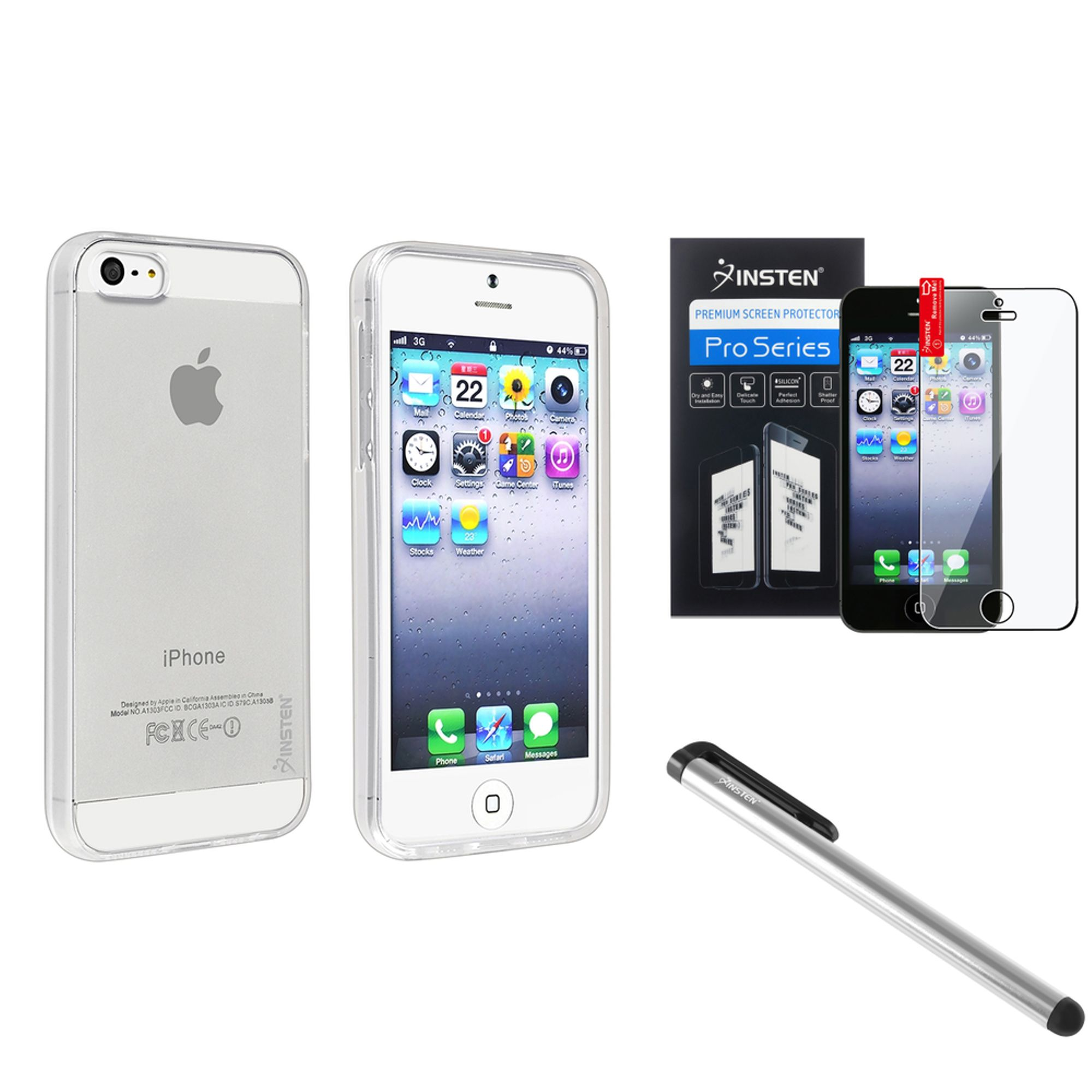 Insten Clear Bumper Jelly Gel TPU Rubber Skin Case Cover+Protector+Stylus Pen for iPhone SE 5S 5