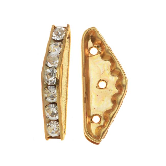 22K Gold Plated Triple Bead Strand Spacer With Czech Crystal Rhinestones (2)