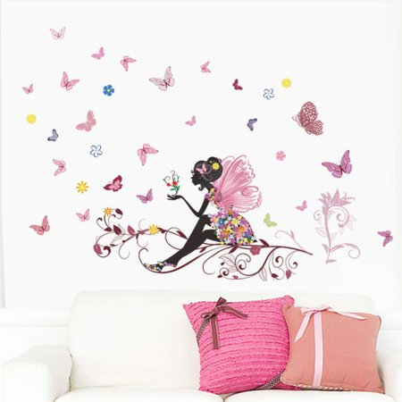 EECOO PVC Wall Sticker Fairy Flower Butterfly Vinyl Art ...