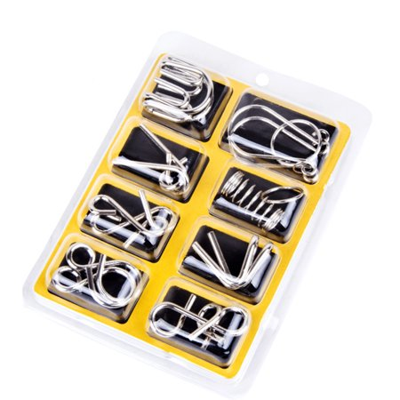 8Pcs/Sets Mental 9 Ring Puzzle Toys Intelligence Buckle Lock Brain Teaser Metal Wire Puzzles Xmas Gifts for Kids Adults Style:English - Quick Brain Teasers