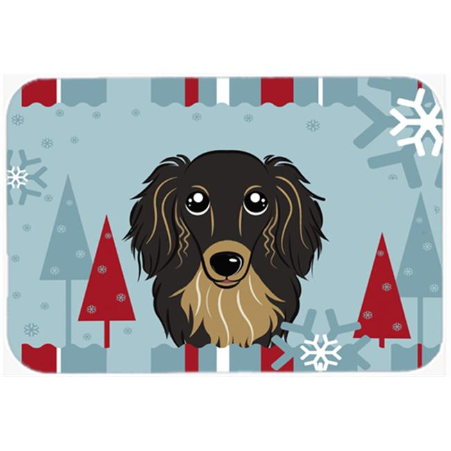 Carolines Treasures BB1709CMT Winter Holiday Longhair Black And Tan Dachshund Kitchen & Bath Mat, 20 x 30 - image 1 of 1