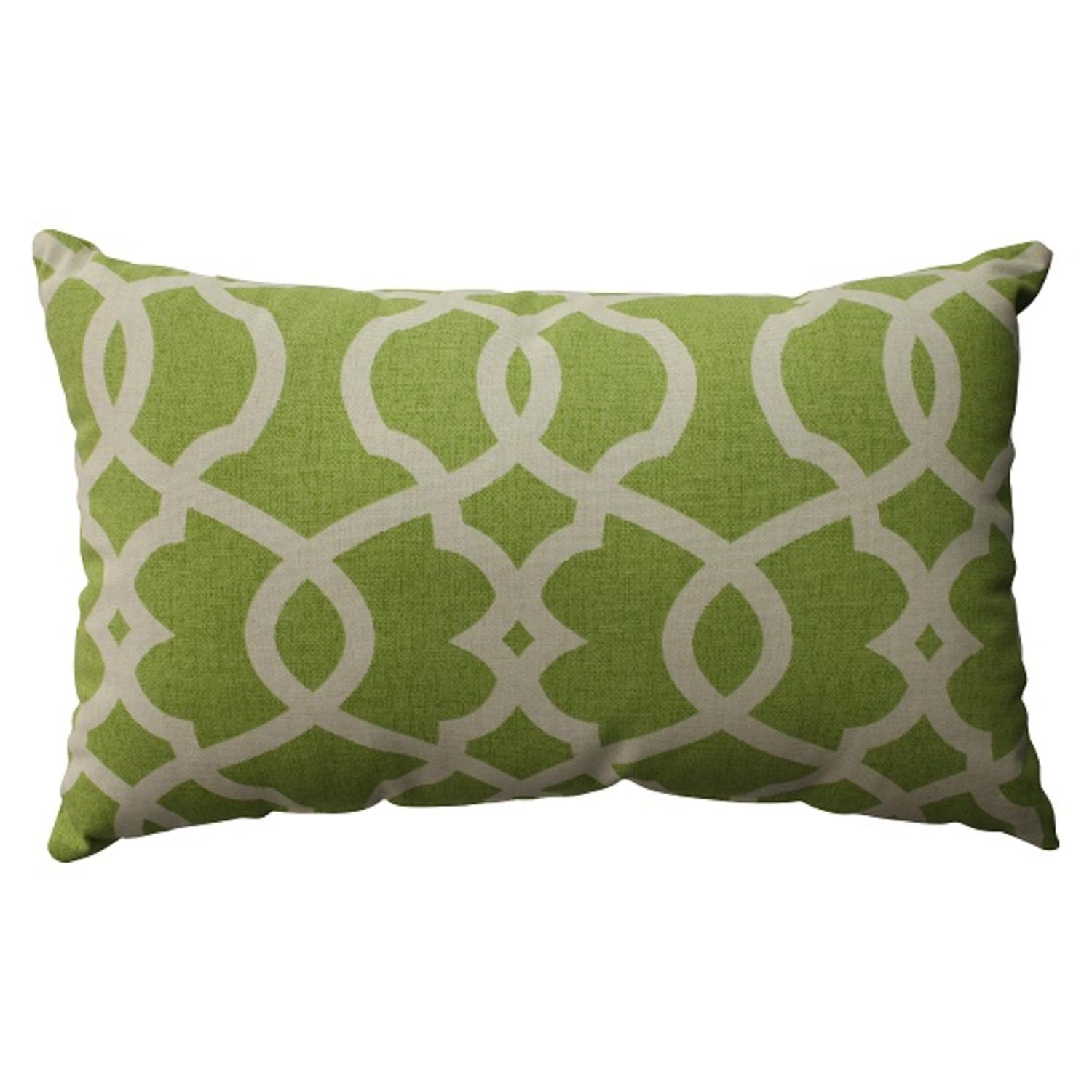 "18.5"" Green Apple Scrolling Rectangular Decorative Throw Pillow"