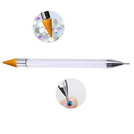 Applicator Head - Rhinestone Picker Wax Pencil Pen, Double Head Pick Up Applicator Tool for Nail Studs, Gems, Crystal, Jewel, Diamond, Stones