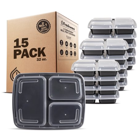 Freshware 15-Pack 3 Compartment Bento Lunch Boxes with Lids - Stackable Reusable Microwave Dishwasher & Freezer Safe - Meal Prep Portion Control 21 Day Fix & Food Storage Containers (32oz), YH-3X15