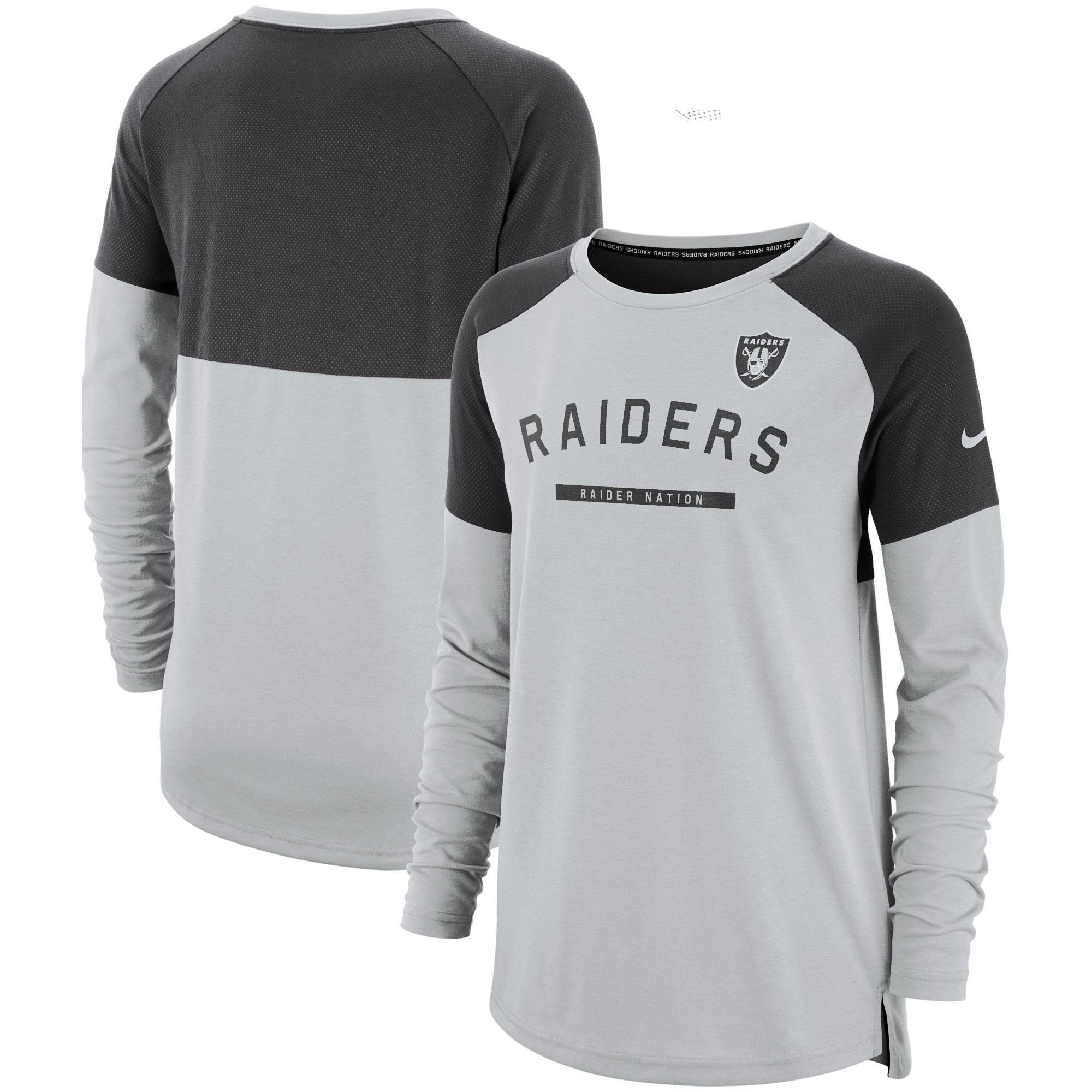 Oakland Raiders Nike Women's Tailgate Long-Sleeve T-Shirt - Gray