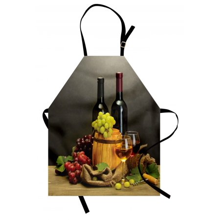 Bottle Apron (Winery Apron Barrel Bottles and Glasses of Wine and Ripe Grapes on Wooden Table Picture Print, Unisex Kitchen Bib Apron with Adjustable Neck for Cooking Baking Gardening, Multicolor, by)