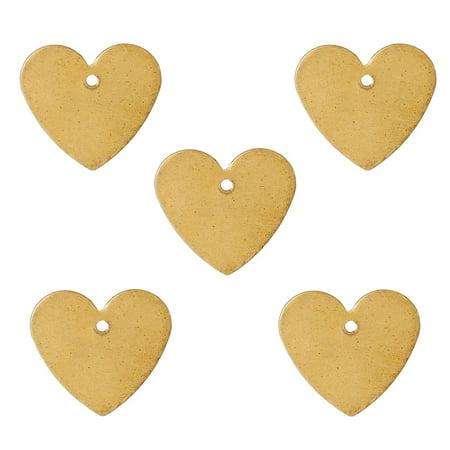 Brass Drop - 95 Brass Plated Alloy Metal Stamping Blanks Heart Drop 15x14mm
