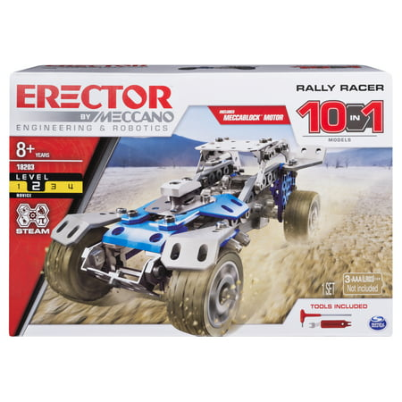 Erector by Meccano Rally Racer 10-in-1 Building Kit, 159 Parts, STEM Engineering Education Toy for Ages 10 and Up Erector Set Instructions