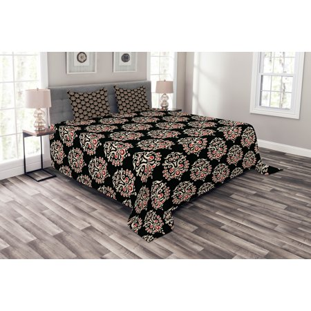 Damask Bedspread Set, Traditional Old Fashioned Abstract Motifs Floral Medieval Fashion Victorian, Decorative Quilted Coverlet Set with Pillow Shams Included, Black Cream Ruby, by Ambesonne (Damask Needlepoint)