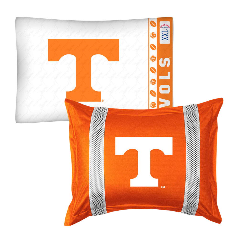 2pc NCAA Tennessee Volunteers Pillowcase and Pillow Sham Set College Team Logo Bedding Accessories