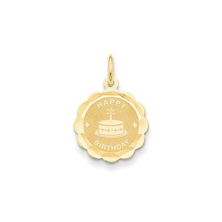14k Yellow Gold Polished Satin Engravable Happy Birthday Charm