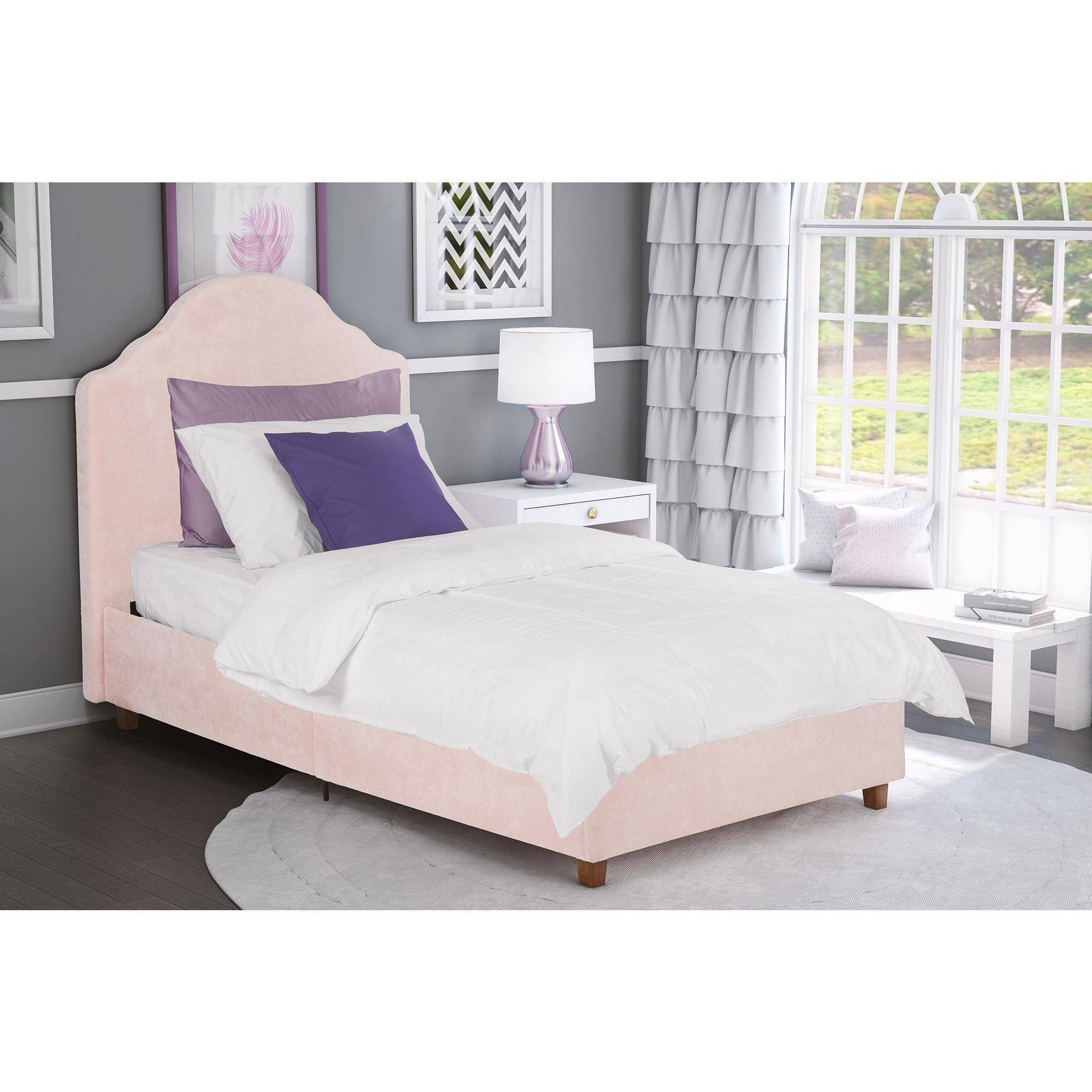 DHP Savannah Twin Upholstered Bed, Pink