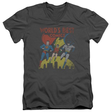 Jla - Worlds Best - Slim Fit V Neck Shirt - Small (Best Small Army In The World)