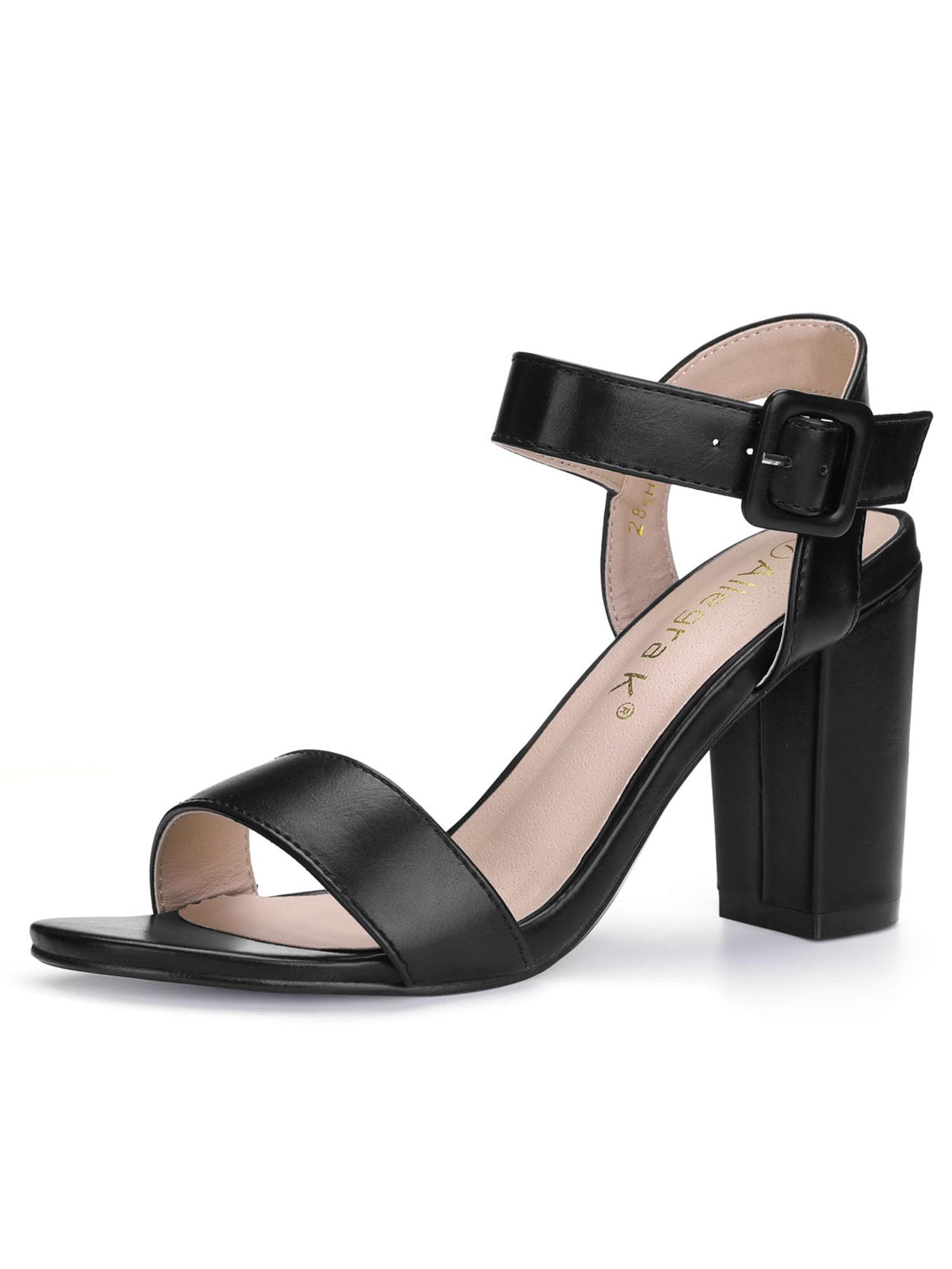 86db1fcfcd45 Unique Bargains Women s Chunky Heel Ankle Strap Dress Sandals Black (Size 8)