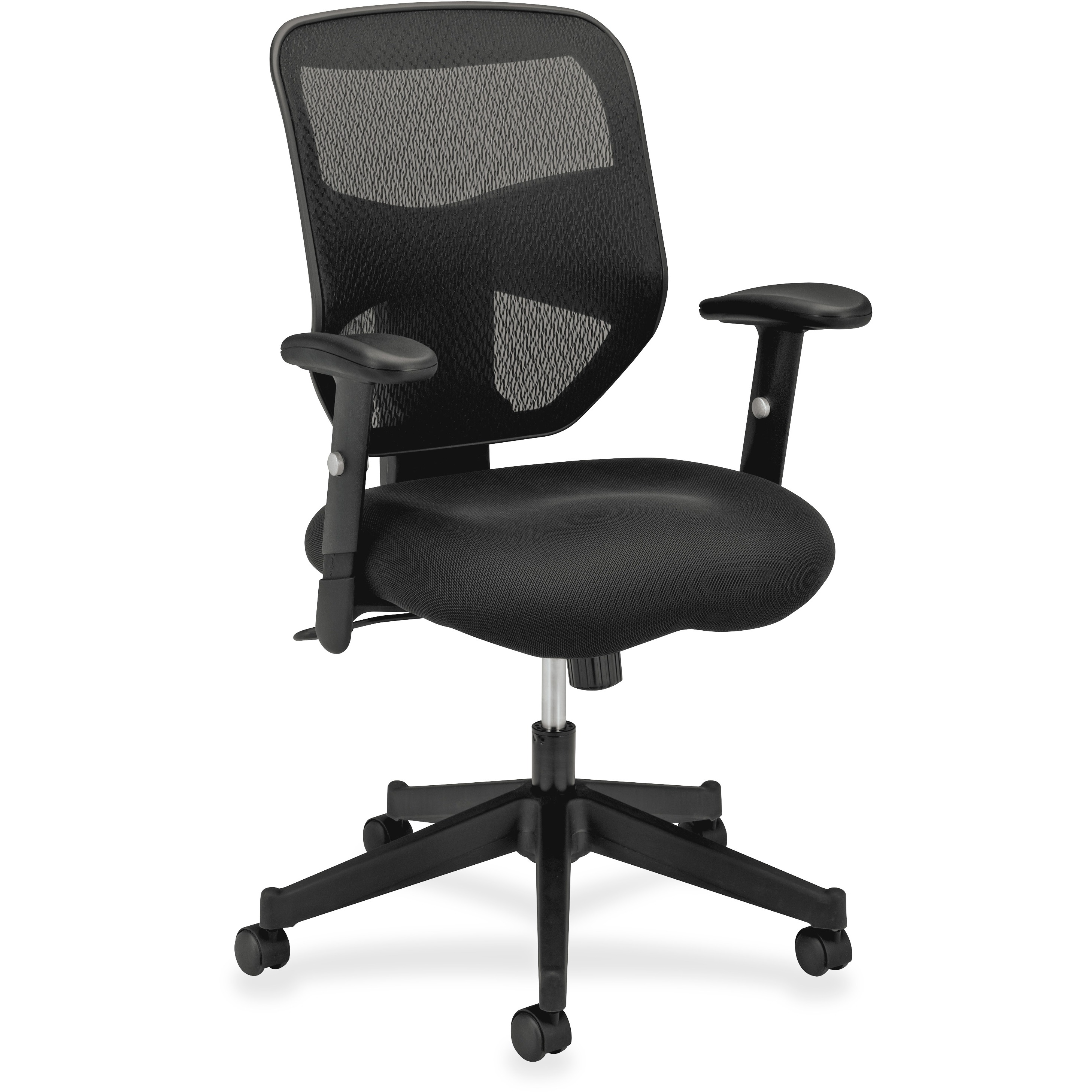 basyx VL531 Series High-Back Work Chair, Mesh Back, Padded Mesh Seat, Black