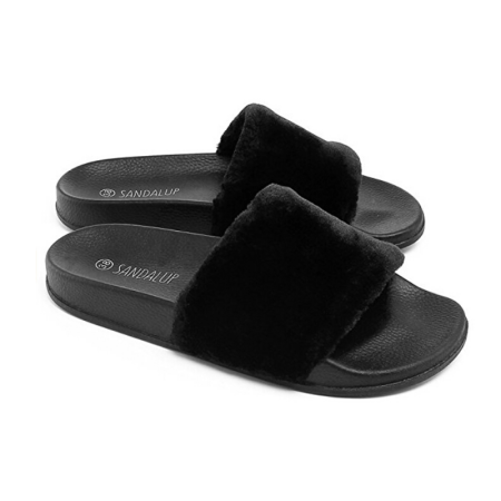 c3679312f161 phoebecat - Black   Pink   Gray Faux Fur Open Toe Shoes Soft Slide Fluffy  Flip Flops for Fall