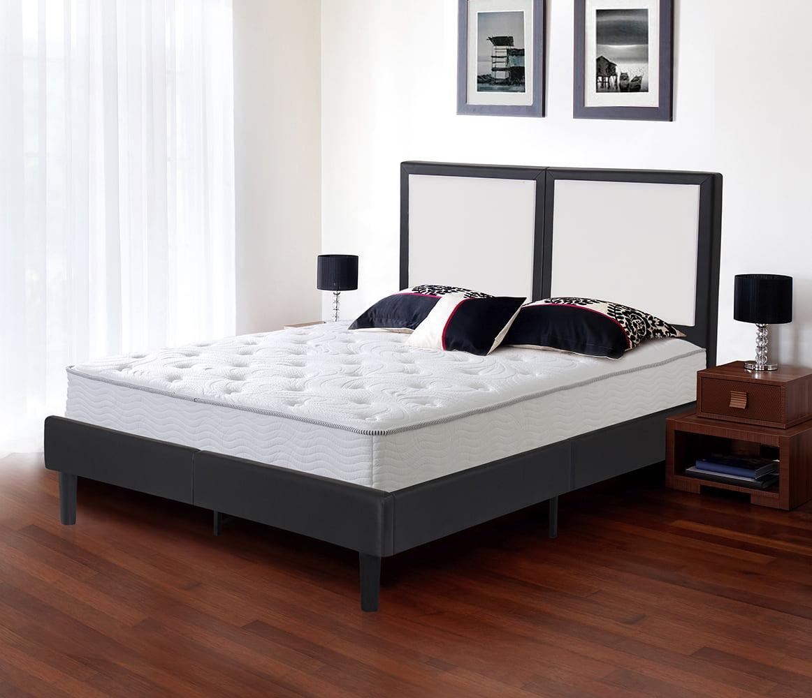 "GranRest 14"" Modern Metal Faux Leather Wood Slate Platform Bed, Multiple Sizes by Grantec Co.; Ltd"