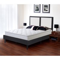 """GranRest 14"""" Modern Metal Faux Leather Wood Slate Platform Bed, Full"""