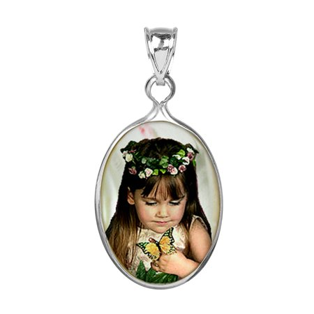 Jade Mother Of Pearl (Personalized Sterling Silver, Gold Plated or 10k Oval Frame Mother of Pearl Color Photo Charm )