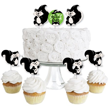 Little Stinker - Dessert Cupcake Toppers - Woodland Skunk Baby Shower or Birthday Party Clear Treat Picks - Set of 24](Skunk Babies)