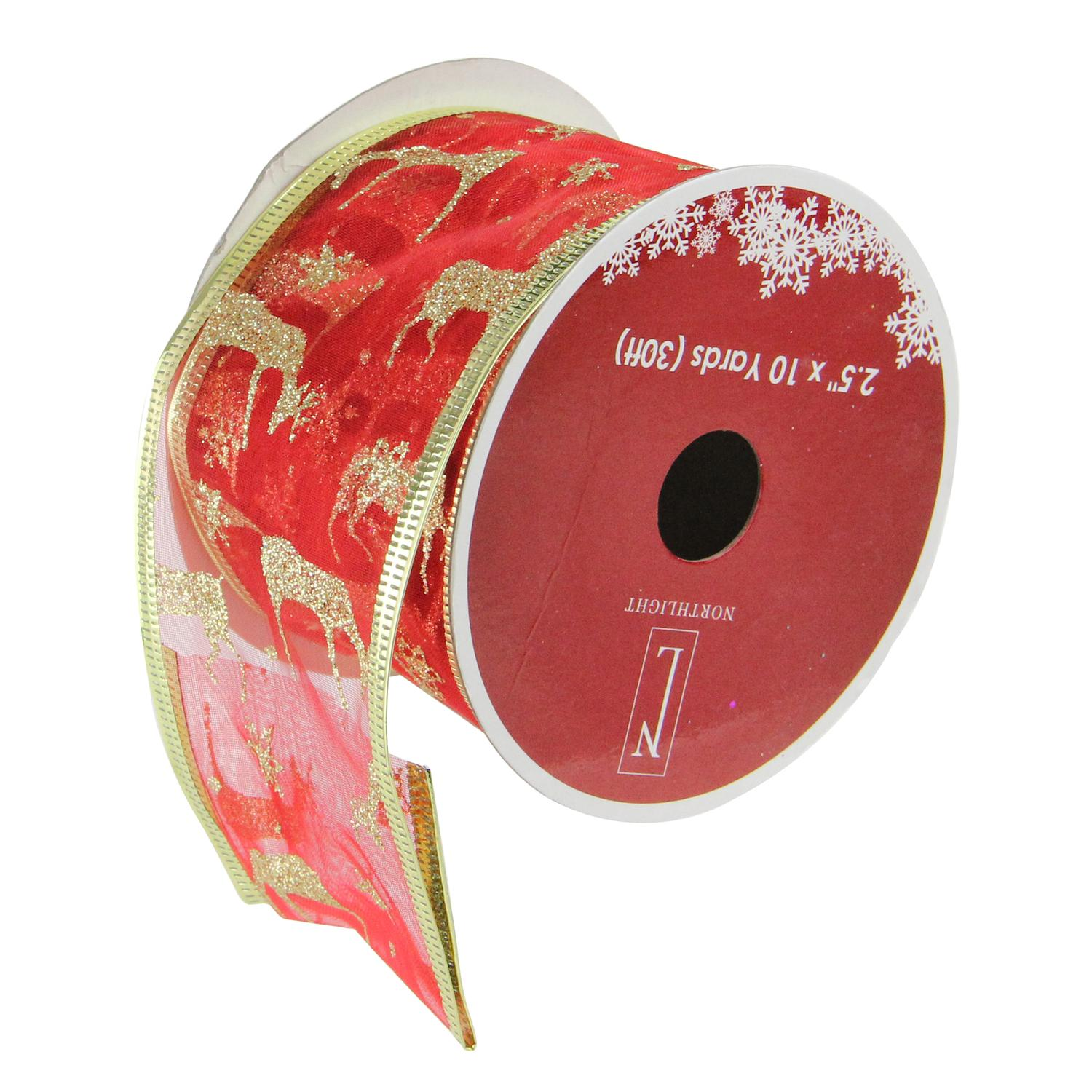 """Bright Red and Glittering Gold Reindeer Wired Christmas Craft Ribbon 2.5"""" x 10 Yards"""