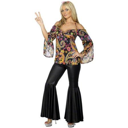 Smiffys Retro Flower Power Hippie Disco 60s 70s Adult Costume (60s 70s Dress Up)