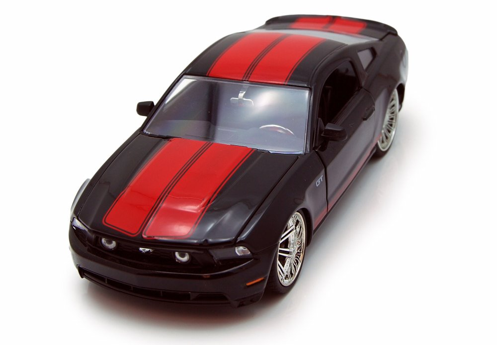 2010 Ford Mustang GT, Black w  Red Stripes Jada Toys 92206 1 24 scale Diecast Model Toy... by Jada