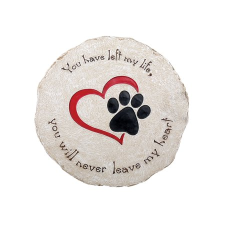 Cat Grave Markers (Pawriffic Round Pet Memorial Garden Stone - Headstone Grave Marker Indoor/Outdoor Heart & Paw Print Plaque for Dog or)