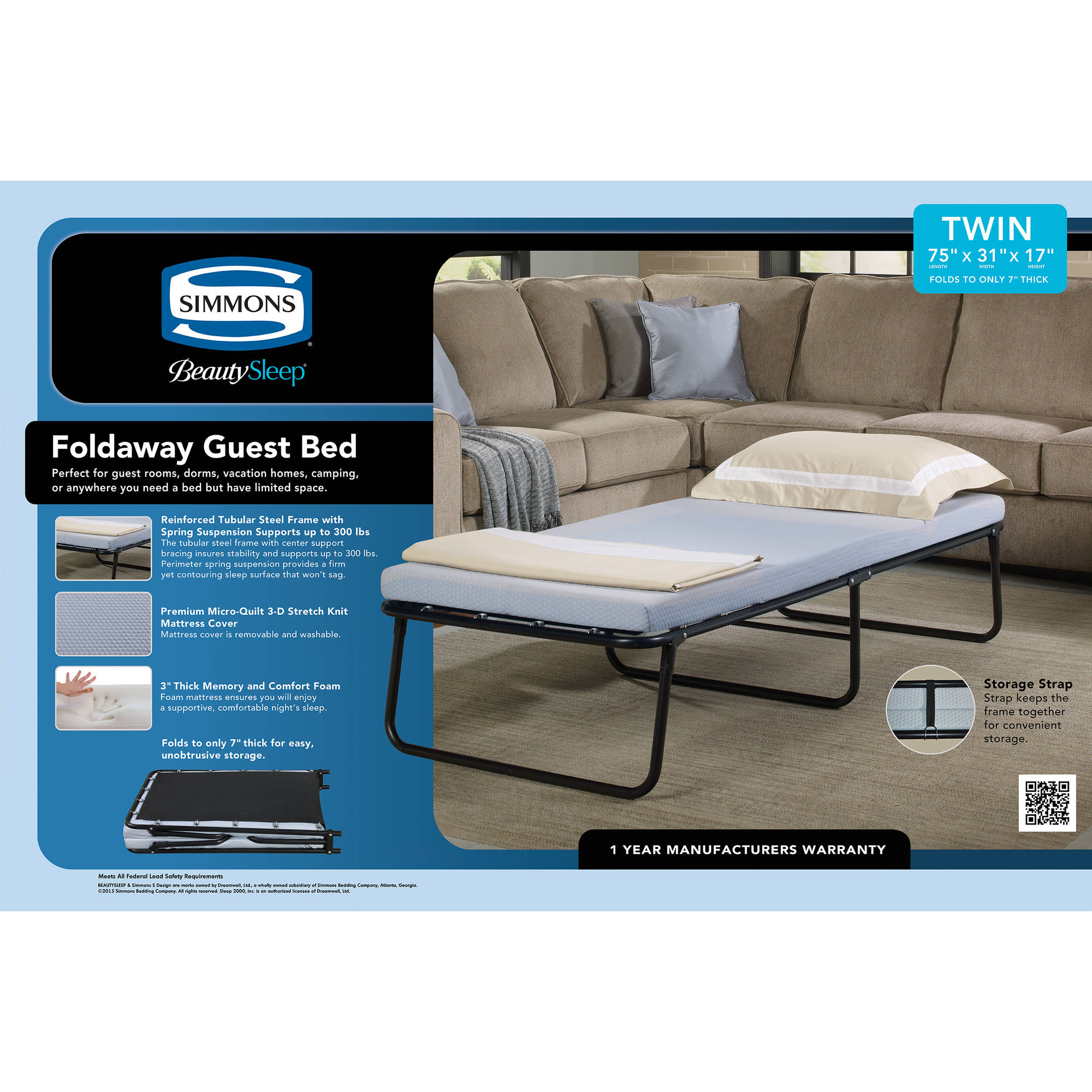 simmons beautysleep foldaway guest bed cot with memory foam