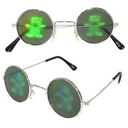 Teddy Bear Hologram Glasses, (70s Glasses Women)