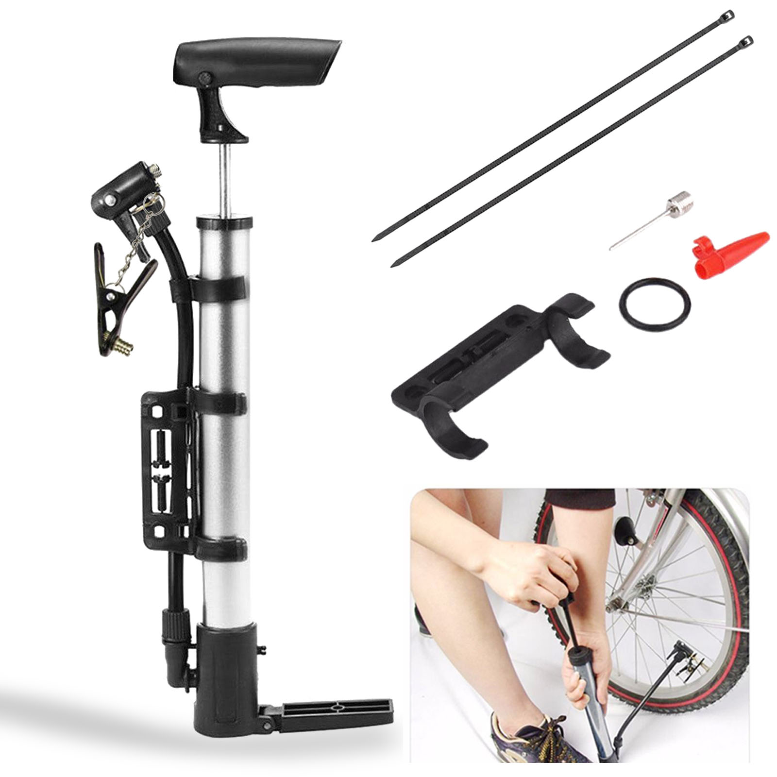 Portable High Pressure Bicycle Cycling Tyre Mini Air Pump for Bikes Basketball Ballon Inflator by