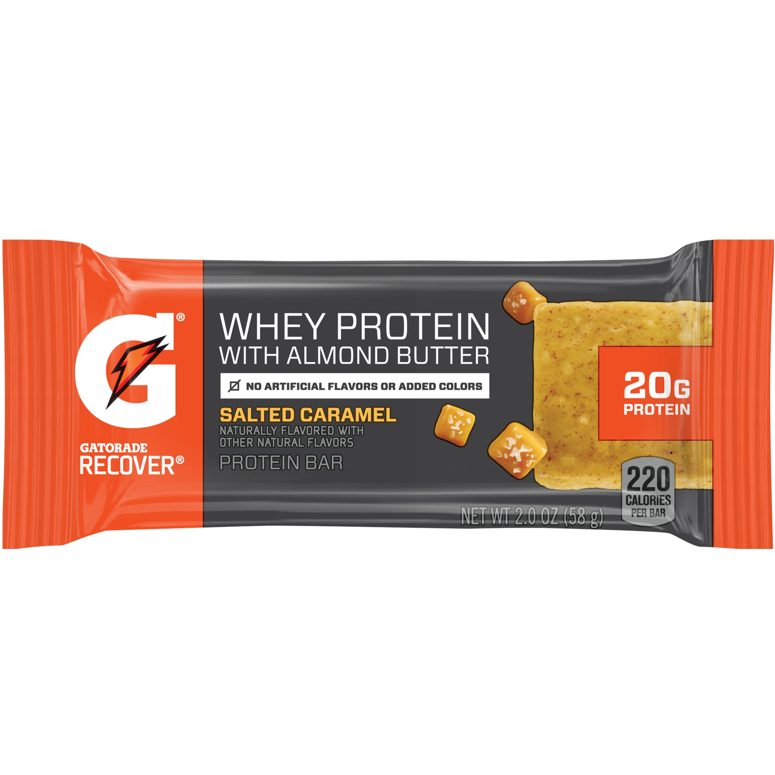 Gatorade Whey Protein with Almond Butter Salted Caramel Bar, 2.1 Oz.