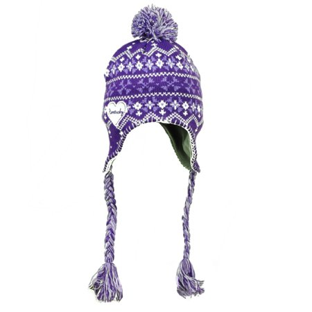 Kentucky State Purple White Peruvian Knit Beanie Womens Tassel Winter Ear Flap (Ohio State Beanie Womens)
