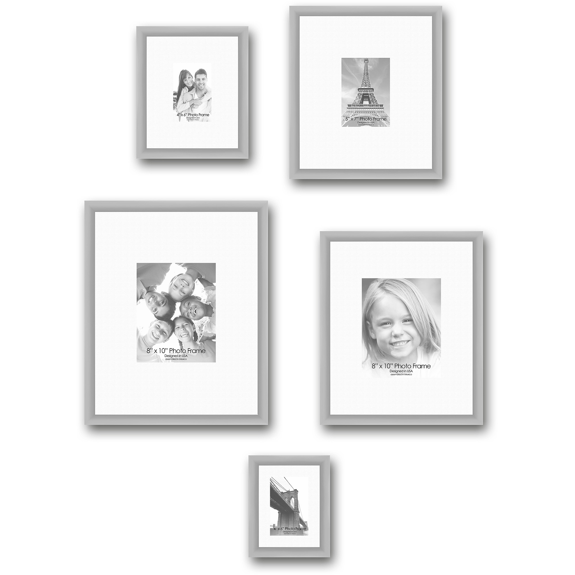 Gallery Frames, Set of 5, Silver