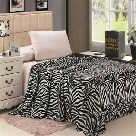 Plazatex Twin Size Zebra Microplush Blanket Black