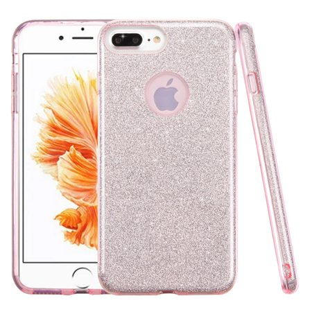 (iPhone 8 Plus Glitter Case, by Insten Glitter Bling Hybrid Hard Plastic / Soft Flexible Rubber Case Cover for Apple iPhone 8 Plus / iPhone 7 Plus - Pink)