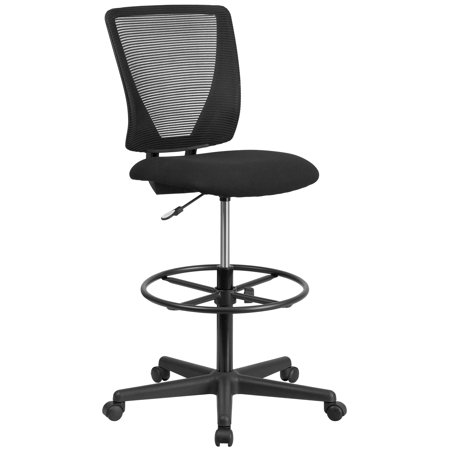Flash Furniture Ergonomic Mid-Back Mesh Drafting Office Chair with Black Fabric Seat and Adjustable Foot Ring