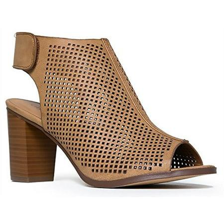 Peep Toe Ankle Strap Sandal   Western Bootie Low Stacked Heel Open Toe Cutout Velcro Mve Shoes Tan 6 5