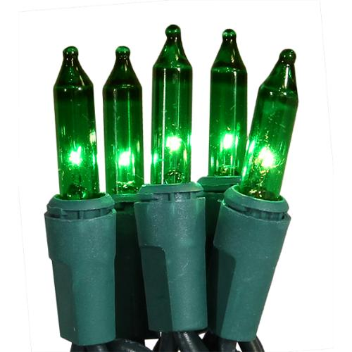 Set of 100 Super Bright Green Mini Christmas Lights - Green Wire
