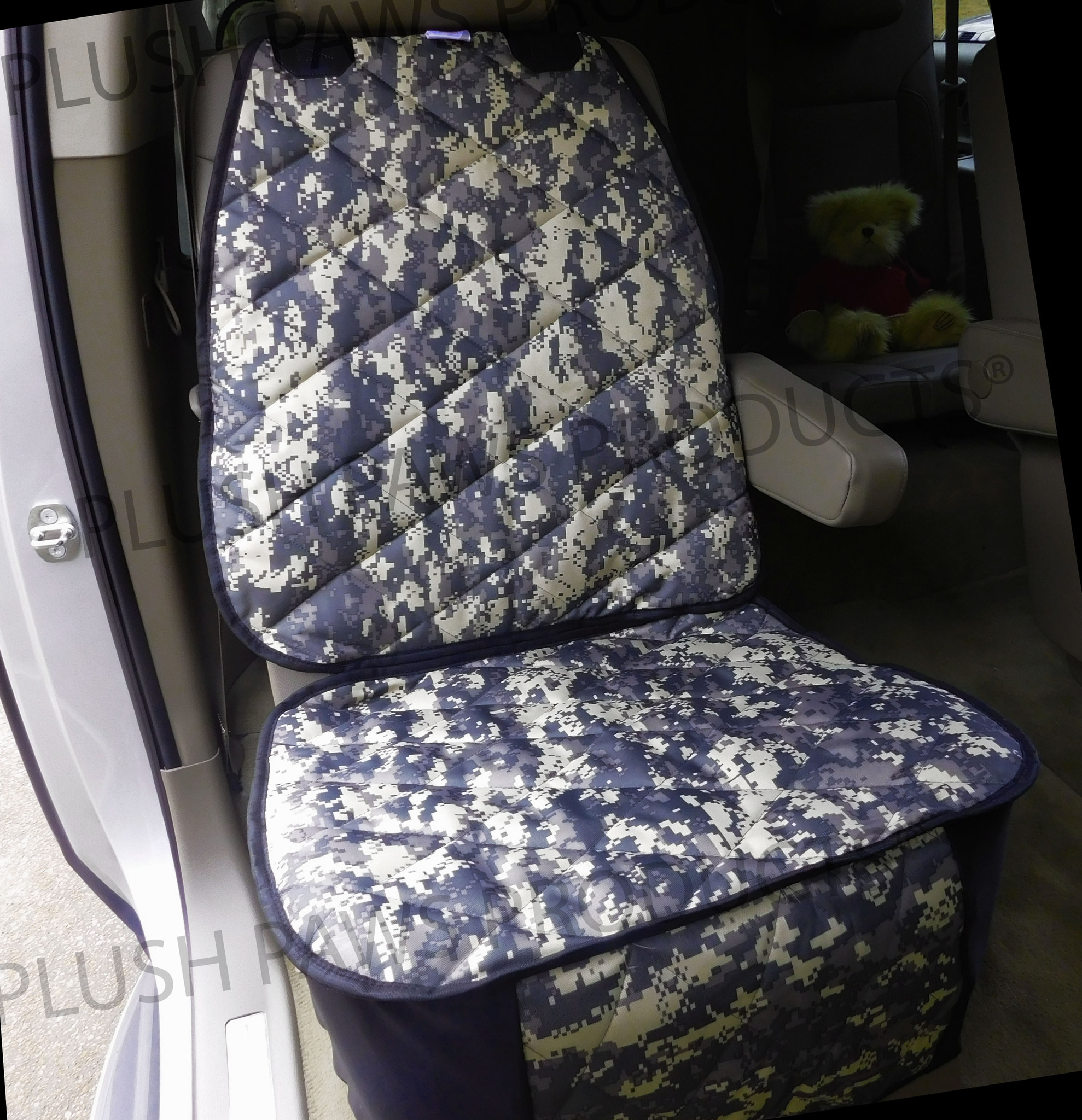 Plush Paws Products Co-Pilot Bucket Car Seat Cover - Navy Camo