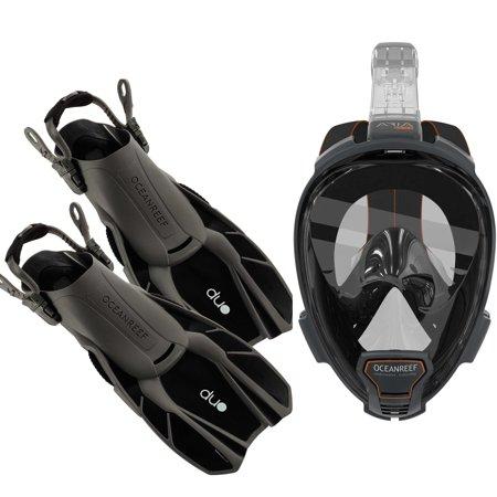 Ocean Reef Diving - Ocean Reef Aria QR+, Duo Travel Ready Mask/Fins Set Diving, Snorkeling Black