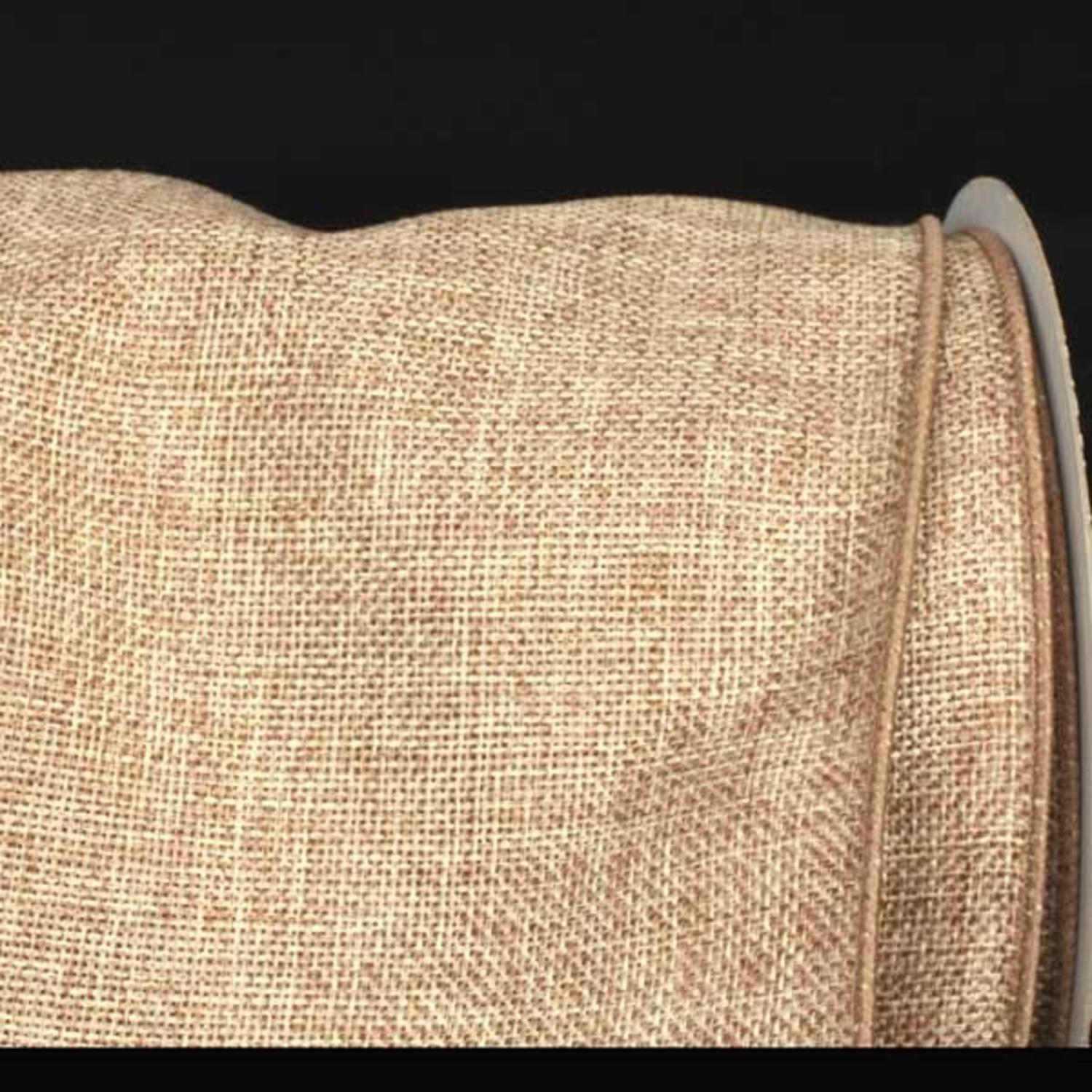 "Natural Tan Wired Fine Burlap Craft Ribbon 6"" x 20 Yards"