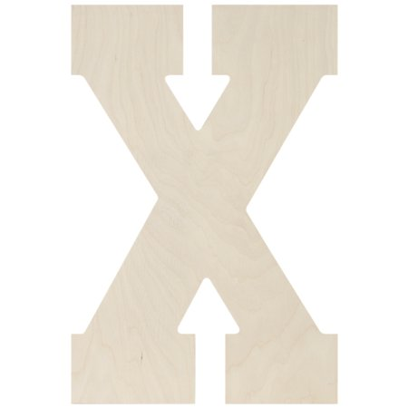 Lettres et chiffres de polices coll-giales en bouleau baltique 13.5 '' - X - image 1 de 1