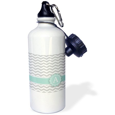 3dRose Letter A monogram on grey and white chevron with mint - gray zigzags - zig zags personalized initial, Sports Water Bottle, 21oz