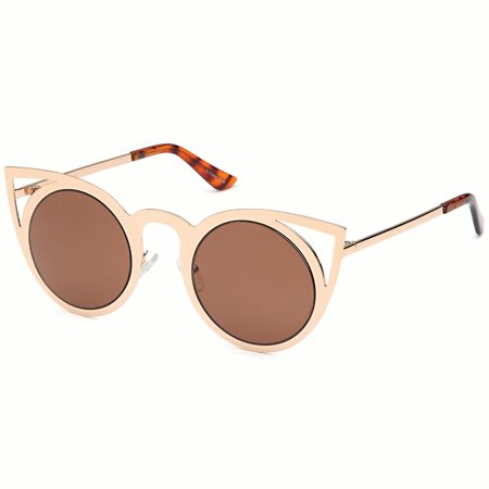 - CATWALK Womens Cat Eye Metal Cut Out Fashion Frame Round Sunglasses with Mirror Flash Lens Option - Brown Lens on Gold Frame