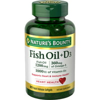 Nature's Bounty Fish Oil 1200 mg + Vitamin D 25 mcg (1000 iu), 90 softgels