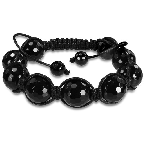 8mm and 14mm Faceted Round Black Agate Bead Shambhala Bracelet, 8""