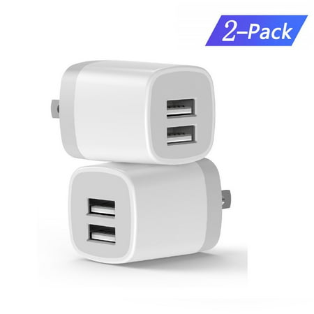 Charger Base, USB Brick,2 Pack High Speed Charging Blocks USB Outlet Plug Charger Base Box Cube Plug Compatible with Phone, LG, Sony, Samsung, Moto, Kindle, iPad and More USB Wall